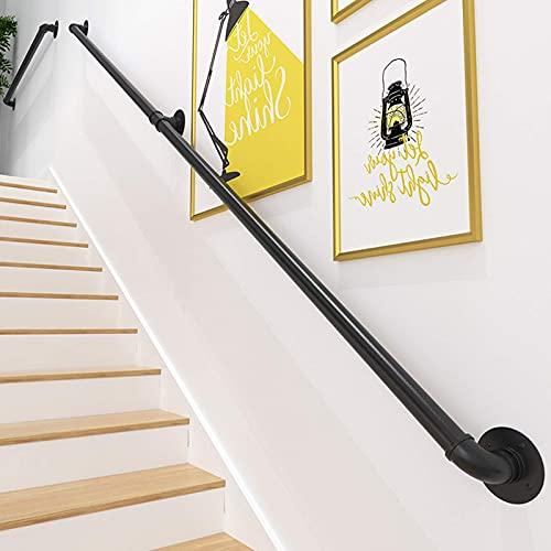 Pasamanos escalera, PaNt 2m Barandilla acero inox Lámina de acero galvanizado resistente al desgaste y a la corrosión Instalación segmentada Barandilla de escalera Barandilla de hierro forjado