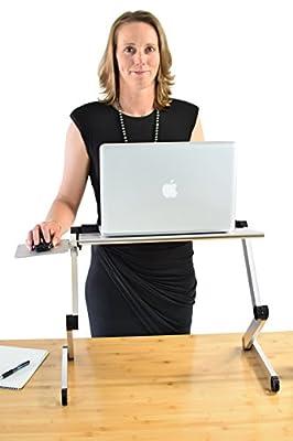 Workez Cool Ergonomic Notebook Cooling Stand, Aluminum Lap Desk, Adjustable Height & Angle Laptop Standing Desk 2 Fans +3 USB Ports + Mouse Pad