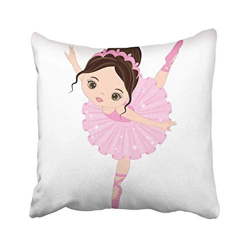 AEMAPE Fundas de Almohada de Tiro Ballet Pequeña Bailarina Linda Chica Bailando en Vestido Rosa Bailarina de Dibujos Animados Hermoso niño Hermoso Funda de cojín de 40X40 cm