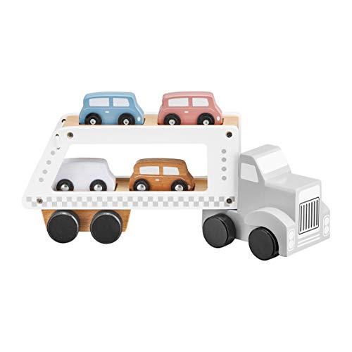 mamabrum Autotransporter aus Holz mit Fahrzeugen mit 1 LKW und 4 Holz Auto Spielzeug Kindergeburtstag Geschenke für Kinder ab 3 4 5 Jahren Mädchen Junge   LKW mit Anhänger : 13,5 / 8,5 / 33 cm