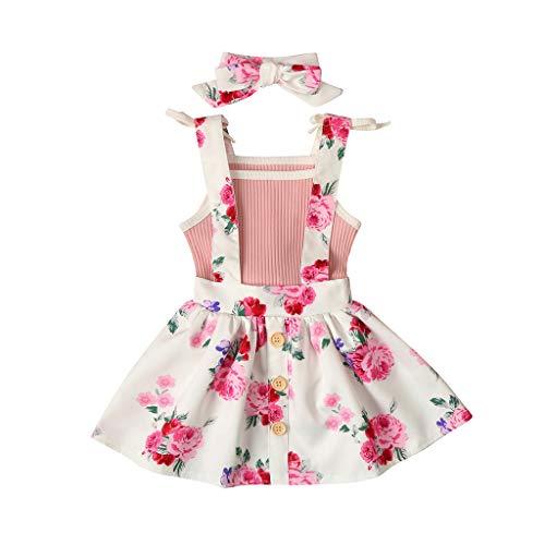 Baby Mädchen Kleidung Set Kleinkind Ärmellos Feste Strampler Tops + Blumenriemen Rock + Haarband Outfits Set, Rosa, 6-12 Monate