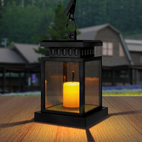 Solarlaterne für Außen Gartendeko, IP55 Wasserdicht Mini Solar Laterne Aussen mit LED Kerzen Effekt, Solar Gartenlaternen Outdoor Hängende Laternen Festive Beleuchtung für Draußen Garten (1 Stück)