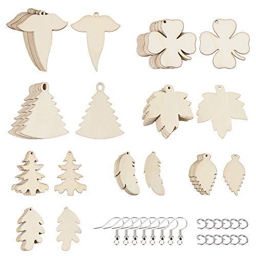 Beadthoven - Pendientes de madera con 80 pendientes de madera en blanco y 80 anillos de salto y 80 ganchos para aretes, collares y bisutería.