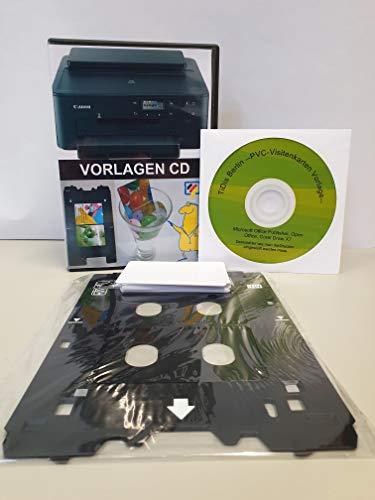 SPP345 - Kleines PVC Kartendrucker Starterpack Alles drin Kartenschublade - Drucktray inkl. 10 Inkjet PVC Karten und Druckvorlagen CD für Canon TS705 u.v.m.