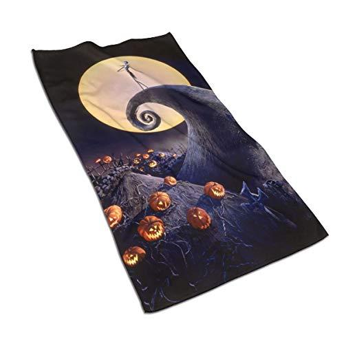 N/A Juego de toallas de algodón egipcio con impresión de acuarela, ultra absorbente, para viajes, deportes, pesadilla antes de Navidad, 27,5 x 39,7 pulgadas