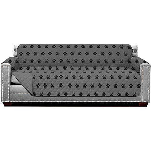 Sofa Shield Original Patent Pending Reversible X-Large Oversized Sofa Protector, Many Colors, Seat Width to 78 Inch, Furniture Slipcover, 2 Inch Strap, Couch Slip Cover Throw for Dogs, Paw, Gray Black