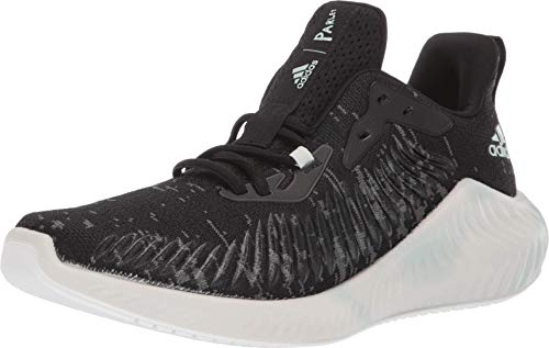 adidas Unisex-Adult Alphabounce+ Parley Running Shoe, Black/Linen Green/White, 8.5 M US