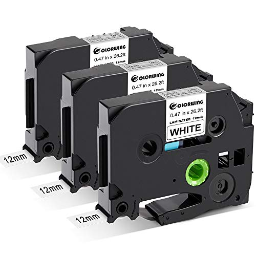 COLORWING Kompatibel Schriftband als Ersatz für Brother Tze-231 Tze231 Tz-231 Tze 12mm 0.47 laminated Schriftband für P-Touch h101c h100r 1010 1000 d400, schwarz auf weiß 12mm x 8m