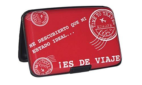 NIGHTMARE STYLE Tarjetero con función Bloqueo RFID y NFC (Rojo). Porta-Tarjetas de Hombre o Mujer. Pasaporte Seguro. Equipaje de Viajes. Regalo Ideal.