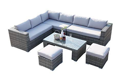 Ecosunny Rattan Garden Furniture Polo 8 seaters Convertible Corner Sofa (288cm x 225cm x 81cm) Coffee Table Set with stools and Raincover - Flat pack - Mixed Grey Rattan with light Grey cushion