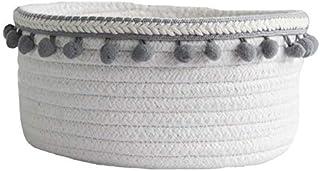 Boîte de Rangement Paniers de rangement de corde de coton avec pompon tissé tissé de vêtements sales de blanchisserie pani...