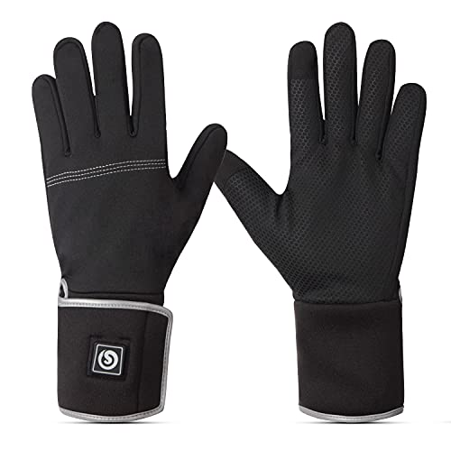 Savior Heated Glove Liners Men Women - Rechargeable Battery Powered Winter Thin Liner Gloves Cold Weather Driving Running Skiing