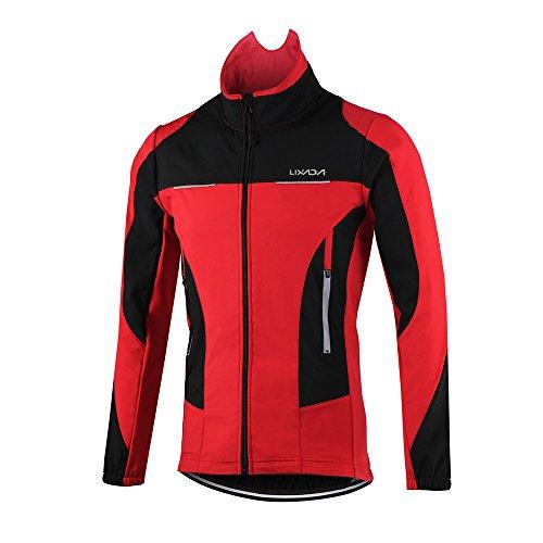 Lixada Abbigliamento Ciclismo Giacca Uomo Maglia da Ciclismo A Manica Lunga in Pile Termico Impermeabile Softshell