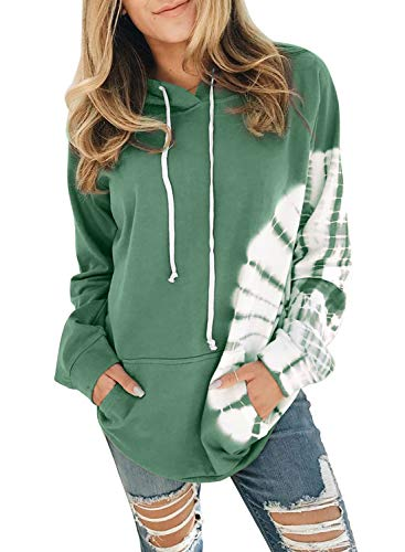 Diukia Women's Tie Dye Print Long Sleeve Hoodie Pullover Casual Pocket Hooded Sweatshirts Drawstring Pullover Tops for Autumn Winter Spring Green L