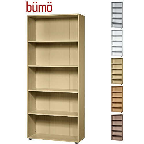 bümö® Aktenregal aus Holz | Büroregal für Aktenordner | Regal für Ordner | Bücherregal inkl. Einlegeböden | in 5 Farben verfügbar (Ahorn, H 188cm = 5 Ordnerhöhen)