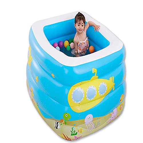 YAHAO Aufgeblasenes Schwimmbad,96x96x73cm Aufblasbares Kinderbecken mit Luftpumpe Spree Verdicktem Schwimmkorb Spree Innen- und Außenpool,115x95x75cm
