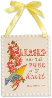 Enesco Encouraging Word Pure in Heart Plaque, 5-Inch