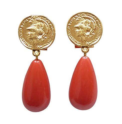 Vergoldete Ohrstecker Ohrringe sehr groß Münze Anhänger korall-rot orange tropfen-förmig Statement Fashionelegant Designer JUSTWIN