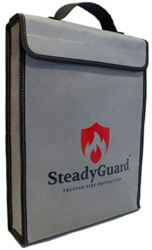"""SteadyGuard Double Layer Premium Fireproof Bag - XL 15""""x11.5""""x2.5"""" - Non-Itchy Silicone Coated Fiberglass Pouch w/Zipper & Handle - Safe Storage of Valuables Documents Money - Water & Fire Resistant"""