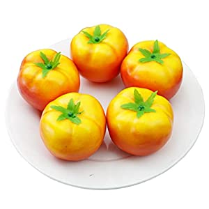 Skyseen 5Pcs Artificial Tomatoes Simulation Fake Vegetable Photo Props Home Decoration