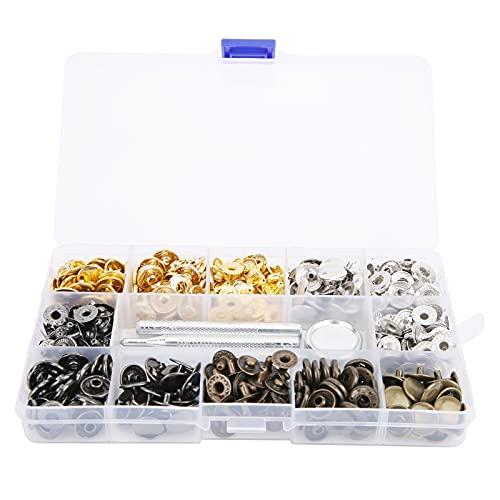 Juego de 120 sujetadores a presión, botones a presión de cuero de metal de colores de 12,5 mm con herramienta de encuadernación, para telas ligeras y medianas
