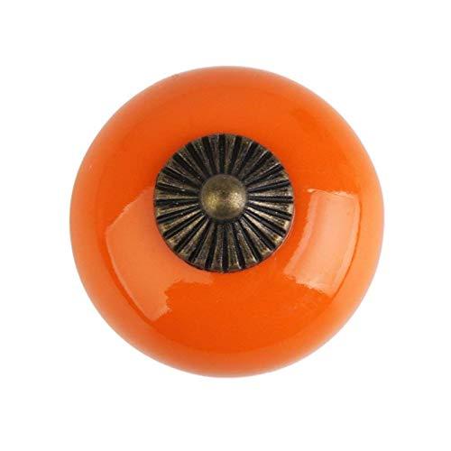 Tirador redondo para puerta y armario, estilo vintage, color naranja