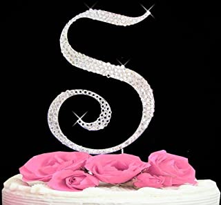 Letter S - Swarovski Crystal Monogram Wedding Cake Topper Letter