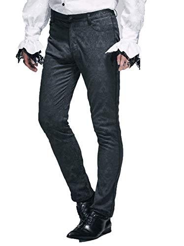 Steampunk Pantaloni Tuta da Uomo Nero Slim Cotone Minuscola in Jacquard