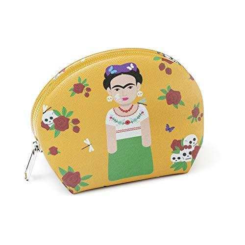 Designer Souvenirs - Monedero Pequeño con Cremallera para Mujer de Diseño Frida Kahlo | Piel Sintética 100% Eco-Friendly | Cartera pequeña Redonda | 10x7x5 cm | Colección Viva la Vida Viva la Vida