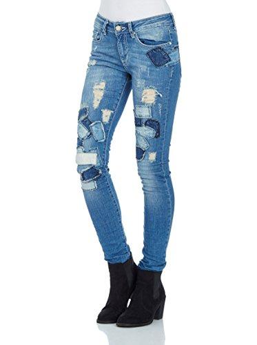 Redbridge Damen Jeans Hose Patchwork Jeanshose Skinny Röhrenjeans Slim Fit (W28 L34, Blau)