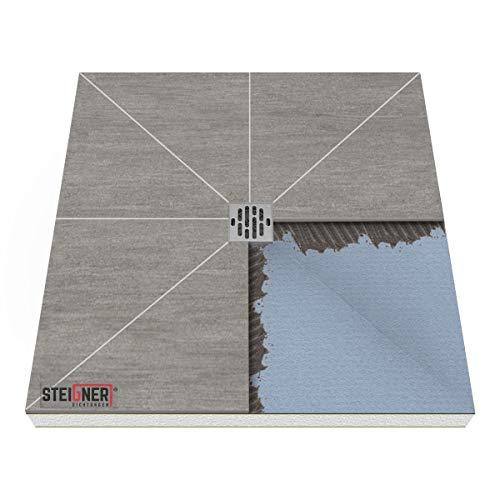 Duschelement MINERAL PLUS Duschboard befliesbar 90x120 cm Ablauf WAAGERECHT - EPS Bodenelement ebenerdig