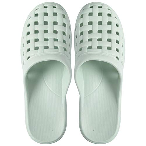 TDYSDYN Men's Rubber Sandal Slipper ,Hole beach bathroom sandals and slippers, non-slip soft bottom plastic slippers-Light green_5-5.5,Sole Open Toe House Slippers