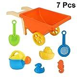 TOYANDONA 7Pcs Kinder Strand Sand Spielzeug Set Wagen Gießkanne Schaufel Rechen Modelle Sandkasten Spielzeug Schwimmbad Outdoor Spielzeug für Jungen Mädchen (Zufällige Farbe)