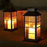 Tomshine Lot de 2 lanternes solaires avec effet de lumière Lampe solaire pour extérieur à suspendre dans le jardin