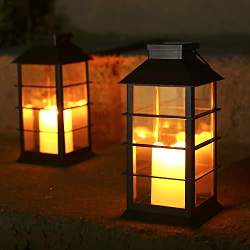 Solar Laterne, Tomshine 2er SolarLaterne mit Kerzen Lichteffekt Solarlampe für Außen im Freien hängende dekorative Beleuchtung für Garten