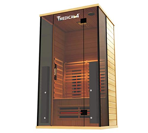 Medical Sauna 4 Full Spectrum | Home Sauna - 2 Person Indoor Infrared Sauna Spa | Oxygen Ionizer, Ch
