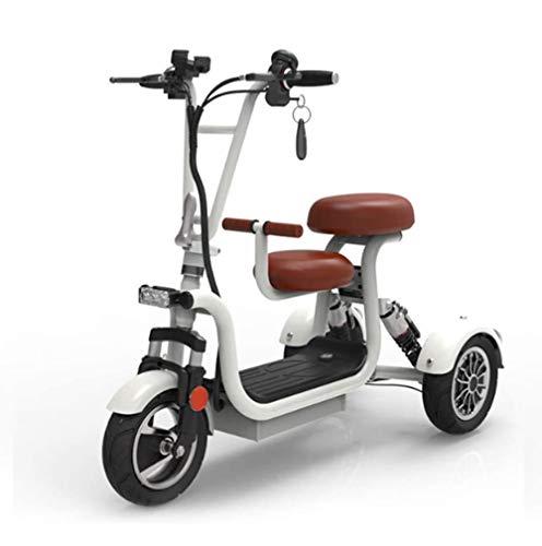 PinkDreamland Triciclo eléctrico Plegable Scooter de Moda portátil Blanca para Damas y Personas Mayores con discapacidades Ocasiones Ocio Viajes trikes Velocidad 30km / h,10AH/45KM