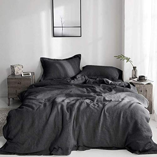 Simple&Opulence 100% Washed Linen Duvet Cover Set 3 Pieces Farmhouse Bedding Sets (1 Comforter Cover and 2 Pillowshams) with Hidden Button Closure(Charcoal Grey,King)