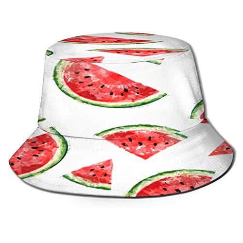 huagu Sombrero Pescador Unisex,Patrón Transparente con Rebanadas Sandía Limón Significa,Plegable Sombrero de Pesca Aire Libre Sombrero Bucket Hat para Excursionismo Cámping De Viaje Pescar