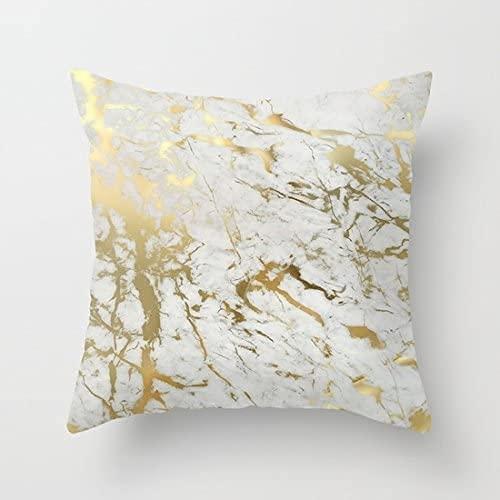 Juego de funda de almohada de lona de algodón inspirado en la belleza del estilo de mármol, funda de almohada de algodón (no dorada, solo imprime la funda de almohada), 43 x 43 cm