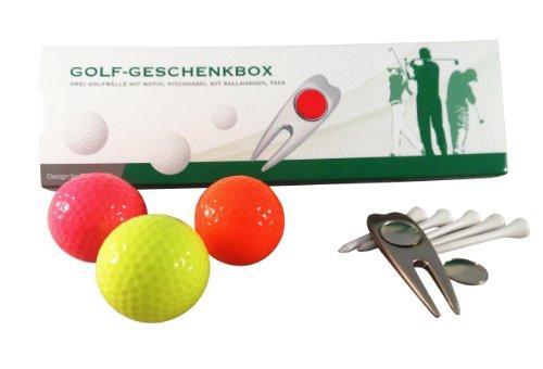 CEBEGO Golfset NEON mit Pitchgabel in Geschenkbox,Leuchtendes 3-er Golfballset,Golfgeschenke Geschenkbox Golfartikel mit Golfbällen