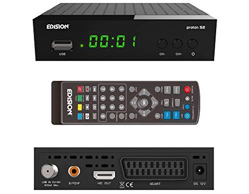 EDISION Proton S2 Full HD SAT Receiver inkl. HDMI Kabel (1x DVB-S2, USB WiFi Support, USB, HDMI, SCART, S/PDIF,FTA schwarz) [ für Astra vorprogrammiert]