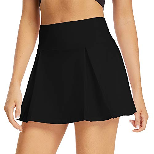Women's Athletic Stretch Skort Pleated Skirt with Shorts and Pocket for Running Tennis Golf Workout Cheerleading (2020 Black XS)