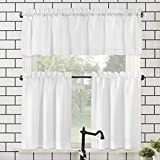 No. 918 Martine Microfiber 3-Piece Kitchen Curtain Set, 54' x 36', White