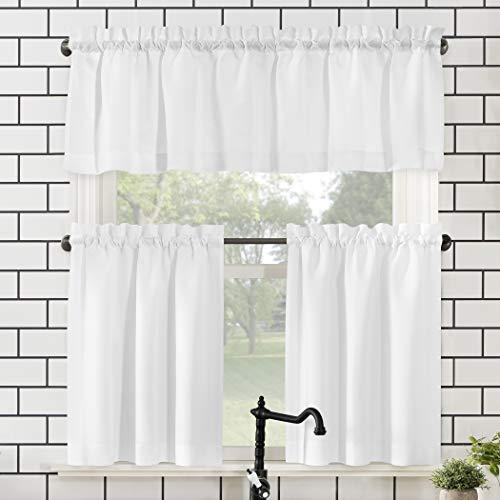 """No. 918 Martine Microfiber 3-Piece Kitchen Curtain Set, 54"""" x 36"""", White"""