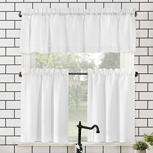 "No. 918 Martine Microfiber 3-Piece Kitchen Curtain Set, 54"" x 36"", White"