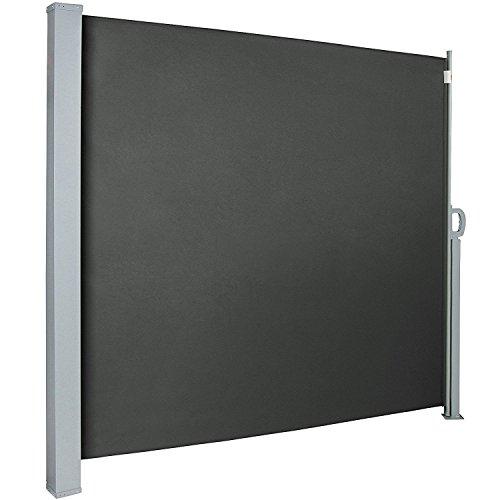 MCTECH® Seitenmarkise Zertifiziert Sonnenschutz Sichtschutz Windschutz Terrasse Markise Polyester (1.8 * 3m, Anthrazit)
