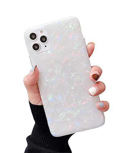 KITATA White Case for iPhone 12 Pro Max Rainbow Color Women Girls Girly Design, Soft TPU Silicone Protective Slim Cover Glitter Sparkling Iridescent Crystal Diamonds Shiny 6.7' (2020)