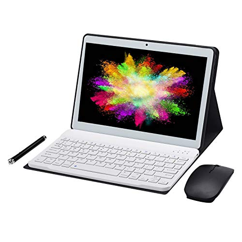 JANWIL Tablet Android 9.0 Touch 10 Zoll Quad-Core RAM 4 GB ROM 64 GB 8000 mAh Akku Kamera 5 MP 8 MP WLAN GPS Typ-C Dual-SIM-Karte Lamada 3G Tablet(White)