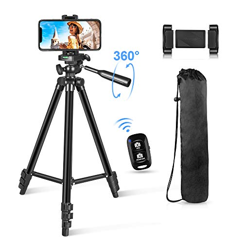 Phone Tripod 54' Lightweight iPhone Tripod Stand for Camera iPhone Samsung and Most Phones with Carrying Bag Universal Phone Mount Wireless Bluetooth Remote Control